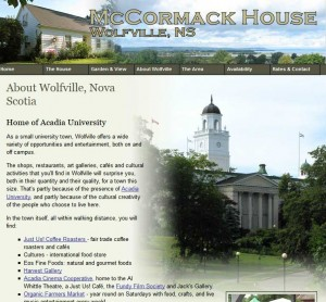 web page about Wolfville